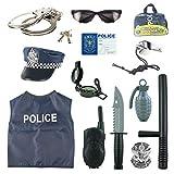 Lommer Disfraz Policía Niño - 13Pcs Policía Juguete Set de Juegos de rol Policia Niños Navidad