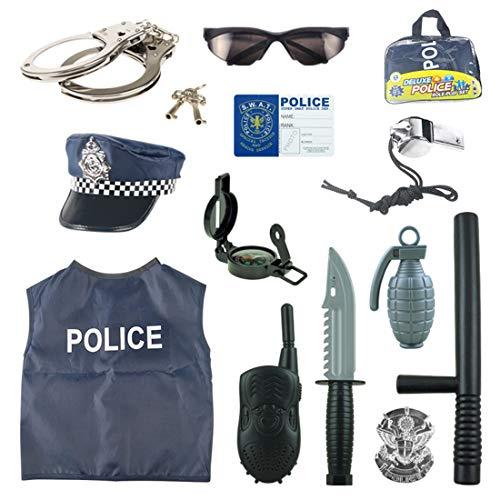 Lommer Disfraz Polica Nio - 13Pcs Polica Juguete Set de Juegos de rol Policia Nios Navidad