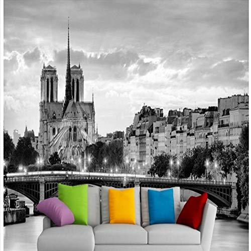 Mural Wallpaper,Black And White Paris Notre Dame Night Scene Customize 4D Wallpaper Hd Print Art Print Large Silk Fresco Poster Picture Wall Painting For Tv Wall Entrance Home Decor,420Cm(W)X260Cm(H)(