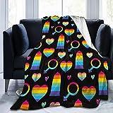 Rainbow Condoms Ultra Soft Flannel Fleece All Season Light Weight Living Room/Bedroom Warm Blanket