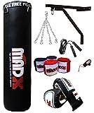 *MADX - Joc de boxa professional de 10 peces amb sac de boxa farcida i pesada color negre de 1,2 o 1,5 m, suports de paret i guants, també per a arts marcials mixtes, grandària 1,52 m