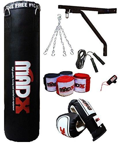 MADX - Juego de boxeo profesional de 10 piezas con saco de boxeo relleno y pesado color negro de 1,2 o 1,5 m, soportes de pared y guantes, también para artes marciales mixtas, tamaño 1,52 m