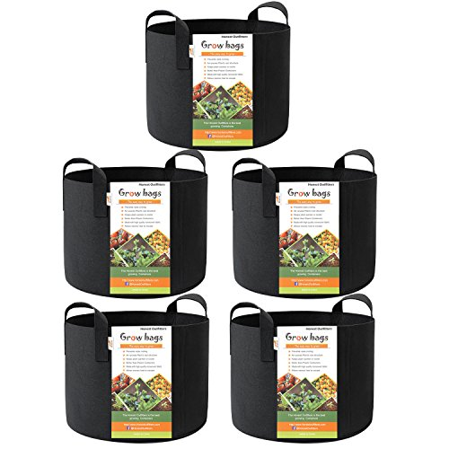 HONEST OUTFITTERS 5-Pack 15 Gallon Smart Grow Bags/Plant Container/Aeration Fabric Pots for Potato with Handles (Black)