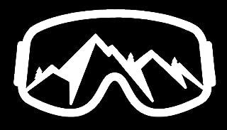 PLU Ski & Snowboard Goggles Mountain View White Decal Vinyl Sticker | Cars Trucks Vans Walls Laptop | White | 7.5 x 4.1 in...