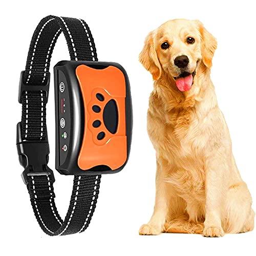 Anti-Bell-Halsband, Erziehungshalsband Hund Nylon Halsband Hundehalsbänder mit Vibration, Sound Automatisches Anti-Bell-Hundehalsband für Kleine, Mittelgroße und Große Hund Training Orange