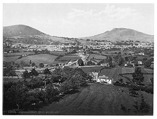 Victoriano UK fotografía enmarcada A3Abergravenny [es decir, Abergavenny], Abergravenny y montaña Sagrada,...