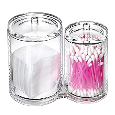 VAMIX Clear Cotton Ball and Swab Holder Organizer Storage Box- Premium Quality Acrylic Round Container Makeup Pads Swab Holder Case