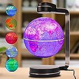 THj Globos para niños, Globo de Mapa del Mundo Flotante de levitación magnética, Globo de Tierra Giratorio de 6', Bola antigravedad con lámpara de luz LED, Regalos educativos