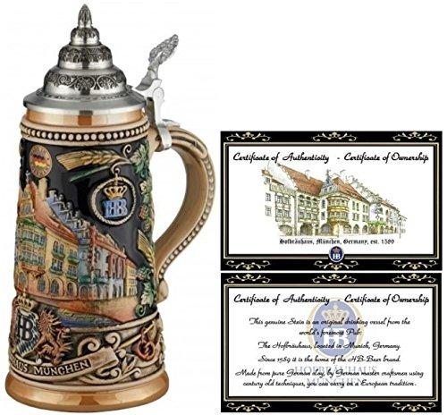 HB Hofbräuhaus München German Beer Stein Munich Hofbräuhaus München HB relief stein 0.5 liter tankard, beer mug King Werk KI 1000176