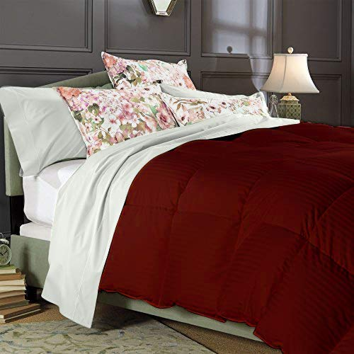 Best Bedding 600 Thread Count Twin/Twin XL Size Alternative 5 Piece Comforter Set with 100% Natural Egyptian Cotton Stripe Cover - Burgundy