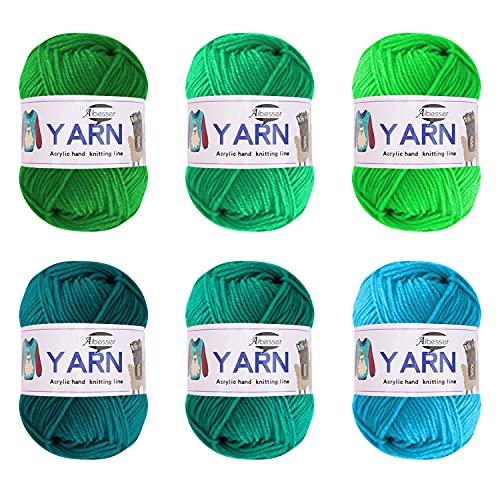 Gomitolo di lana per uncinetto, lana acrilica per lavorare a maglia, set di filato di cotone spesso per uncinetto (Green Mix)