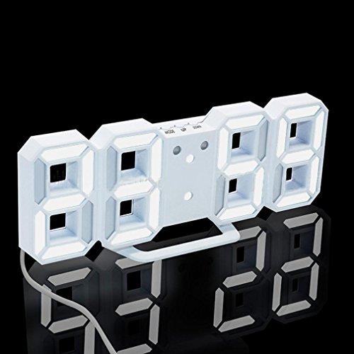 Toamen LED Clock, Modern Digital LED Table Desk Night Wall Clock Alarm Watch 24 or 12 Hour Display (White-white)