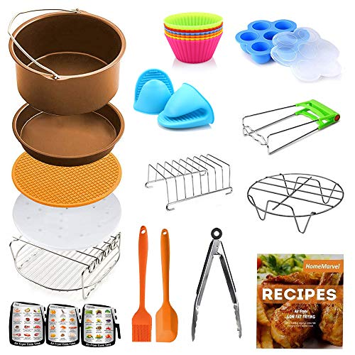 9 inch Air Fryer Accessories XXL for Ninja Gowise Cosori Phillips Cozyna Gourmia Zeny, Set of 18 for 6.5 /7/9/10 QT with Recipe Cookbook, Rust Proof 9'' Cake Barrel, Pizza Pan, 100pcs Air Fryer Liners, Silicone Cupcake Mold, Baking Cups, Plate Gripper, 3 Magnetic Cheat Sheets