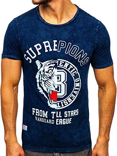 BOLF Hombre Camiseta de Manga Corta Escote Redondo T-Shirt tee con Impresión Camiseta de Algodón Crew Neck Sport Estilo Diario HUNIFIWE HFM015 Azul Oscuro M [3C3]