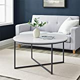 Walker Edison Cora Round Coffee Table with X-Base, 36 Inch, Marble/Black