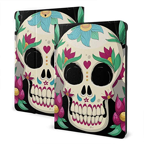 Compatible with Ipad Air3 10.5 Ipad Case Apple Generation Skull Floral Screen Protector Mini Case 2020 Anti-Slip Full Protective Standing Cover Lightweight Fold Auto Wake/Sleep