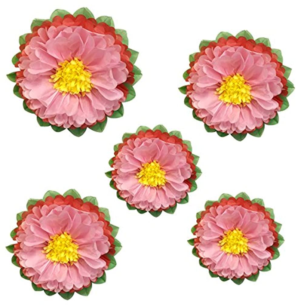 Wrapables Set of 5 Tissue Flower Pom Poms Party Decorations for Weddings, Birthday Parties Baby Showers and Nursery Décor, Pink/Melon