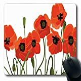Ahawoso Poppy Mousepad Oblong 7.9'x9.8' Poppy Efflorescing Meadow in Backwoods Vibrant Blossoms Buds Bouquet Vermilion Green Non-Slip Rubber Mouse Pad Office Computer Laptop