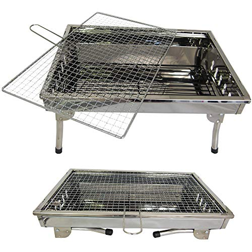 TMD-Line BBQ Holzkohlegrill 45 x 30cm Klappgrill Standgrill Tragbar Camping Garten Grill