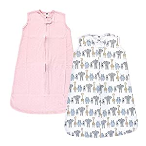 Hudson Baby Unisex Baby Interlock Cotton Sleeveless Sleeping Bag, Pink Safari, 18-24 Months (56105XL)
