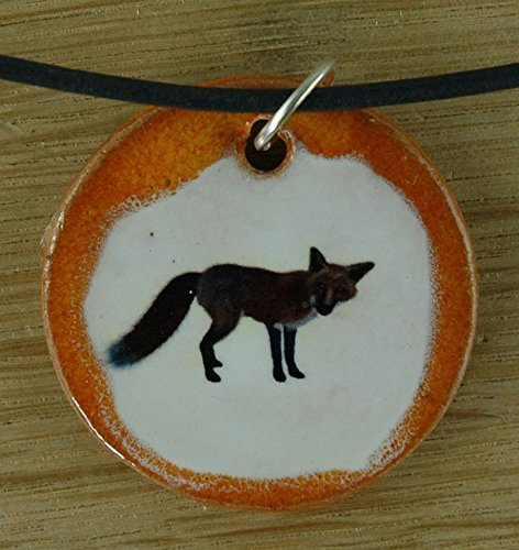 Echtes Kunsthandwerk: Schöner Keramik Anhänger mit einem Fuchs; Tier, Wald, Tiere, Mitbringsel, Geschenk