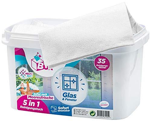 CleaningBox 5-in-1 MicroNet WetCleanWipes Reinigungstücher Glas & Fenster I 35er Spenderbox I Dust Meeresfrische I Weiß 40x30 cm I Made in Germany