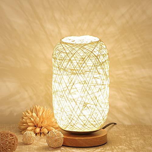 Sundos Lampe De Chevet Moderne En Bambou Et Rotin - Lampe De Table Moderne Et Créative Avec Base En Bois - Décoration Personnalisée - Lampe Led à Intensité Variable - Lampe De Chevet Pour Salon