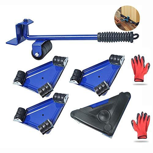 Poweka Élévateur de meubles lourds avec 4 coulisseurs, kit d'outils de transport pour meubles avec gants, capacité de charge de 300 kg / 660 livres pour déplacer des canapés et des réfrigérateurs