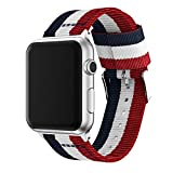 XIHAMA Cinturino di Ricambio Compatibile con Apple Watch Series 5 4 3 2 1, Nylon Cinturini Orologio Braccialetto per iWatch 44mm 40mm 38mm 42mm (42mm / 44mm, Blue/White/Red)