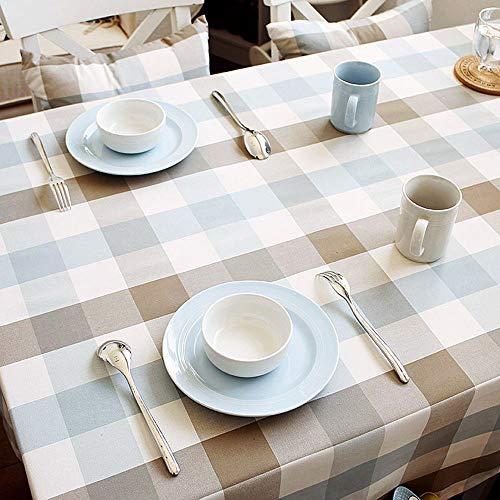 SYT Tablecloths Tissu de Nappe imperméable Nappe Treillis Maison Simple Coton et Lin Nappe carrée fraîche, 140x140cm, Un