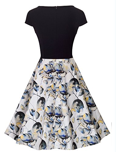 HOMEYEE Women's 1950s Vintage Elegant Cap Sleeve Swing Party Dress A009 (M, White)