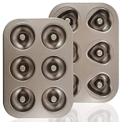 2 Set of Mini Donut Pans Nonstick 6 Cavity Doughnut Baking Pan Carbon Steel Donut Mold Tray Bagels Mold for 6 Donuts Pastry Pan for Bakeware Oven Gold