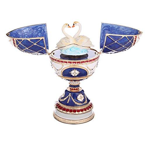 """Ruso huevo de Faberge Estilo/caja de música/Joyero Joya Caja con dos cisnes azul 6,7\"""""""