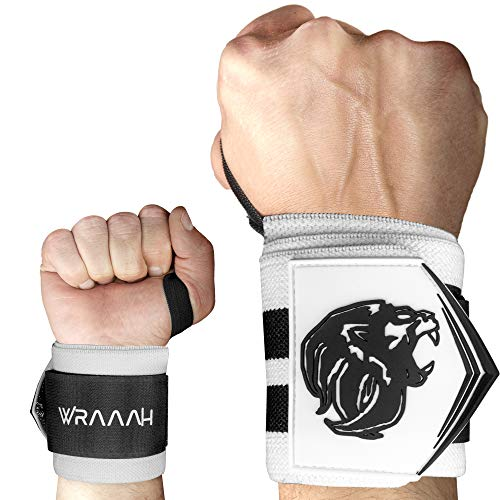WRAAAH Handgelenk Bandagen Fitness [2 Stück] I Extra Starke Handbandagen für Bodybuilding & Kraftsport I 45cm Handgelenkbandage I Premium Wrist Wraps