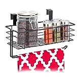 Relaxdays Einhängekorb mit Küchenrollenhalter, Aufbewahrung, Küche & Badezimmer, Drahtkorb HBT: 18 x 31 x 17 cm, schwarz