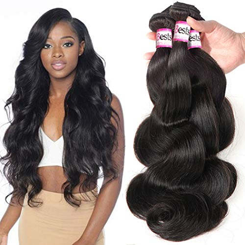 Bestsojoy Brazilian Body Wave 4 Bundles 100% Human Hair Bundles 10A Unprocessed Brazilian Virgin Hair Natural Color Hair Extension (24 24 26 26)