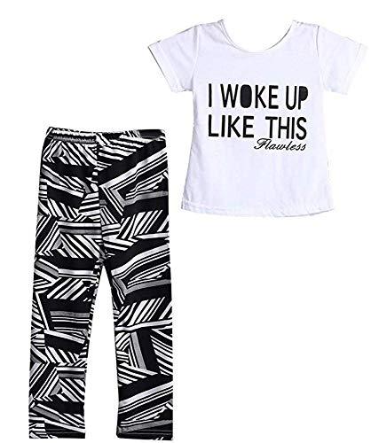 2 Stks Kids Meisjes Ik werd wakker als deze bedrukte T-Shirt + Zebra-Stripe Lange Broek Kleding Set