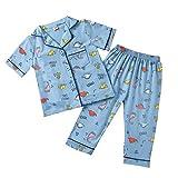 Treer Pijamas de Manga Corta para Niños y Niña, Solapa Pijamas Dos Piezas Verano Suave y Cómoda Algodón de Juego de Pijama Camisetas y Pantalones Conjunto de Pijamas (Pangolín,155)