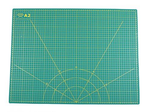 Esterilla de corte A2 = 45 x 60 cm, 5 capas impresas por ambos lados, autorreparable, verde, impresión en cm y pulgadas