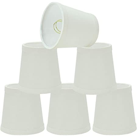 Upgradelights White Linen 4 Inch Mini Clip On Chandelier Lamp Shade Set Of 5 2 5x4x4 Amazon Com