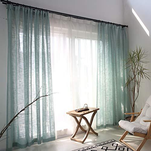 TY&WJ Lino Texturizado Transparentes Cortinas De Ventana,Patrón Cruzado Decorativo Navegación Paneles Drapeados para Dormitorio Decoración Ventanas Verde 400x270cm(157x106inch)