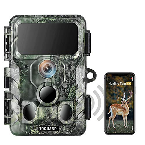 TOGUARD WLAN Bluetooth 4K Wildkamera 30MP Jagdkamera mit IR-LEDs Nachtsicht-Wildkamera 120° Erkennung Bewegungsaktiviert IP66 Wasserdicht 2,4