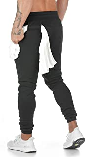 Men`s Active Basic Sweatpants Jogger Cotton Pants with Pockets and Towel Holder for Workout,Running,Training