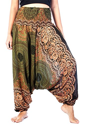 LOFBAZ Harem Yoga Pants for Women Hippie Boho Bohemian Clothing Womens Beach Indian Gypsy Clothes Genie Maternity Jumpsuit Rose 1 Green