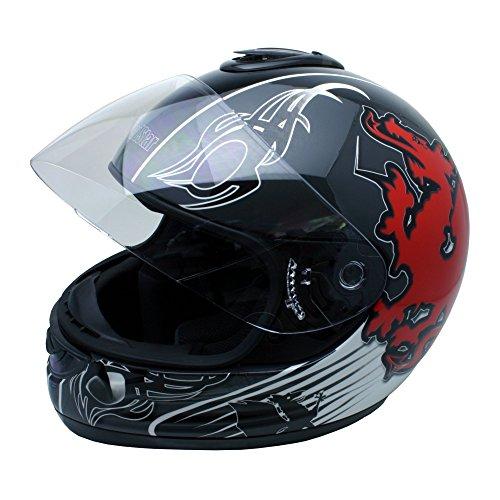 Roadstar Integral-Helm Revolution Wales, Schwarz/Rot, Größe 53/54
