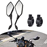 DKMOTORK 1505 Motorcycle Convex Rear View Side Mirrors with 10mm Bolt (Clockwise Thread) for ATVs Scooter Cruiser Electric Bicycle Sportster Off-road Street Dirt Bike with 7/8 Handle Bar Black