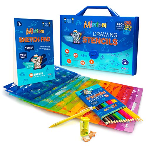 Mimtom Plantillas de Dibujo Kit de Manualidades para niños y Chicos con 240 Figuras | Plantillas para Pintar Que desarrollan la Creatividad | Desde los 3 años