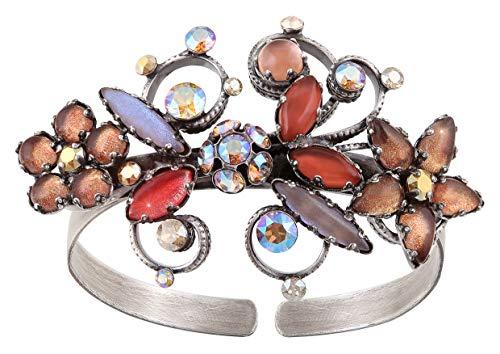 Konplott Armband Armreif Twisted Flower braun antik Silver