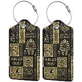 Jeroglíficos egipcios y símbolos dorados sobre cuero negro para equipaje de mano con correas ajustables para viajes de negocios, 2 por juego