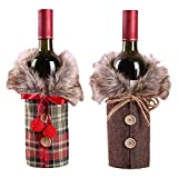 2pcs Christmas Sweater Wine Bottle Cover, Collar & Button Coat Design Wine Bottle Sweater,Newest Wine Bottle Clothes Set for Xmas Wedding Party Decoration